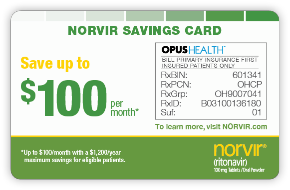 NORVIR Savings Card 2; Copay